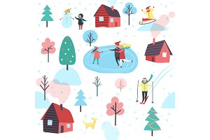 Winter Pattern with People and Cottage Houses