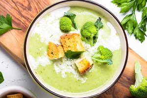 Green soup puree with broccoli.