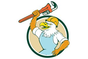 Bald Eagle Plumber Wrench Circle Car