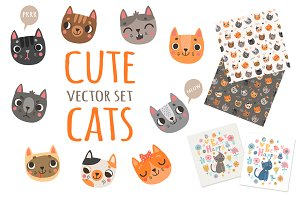 Cute cats. Vector set.