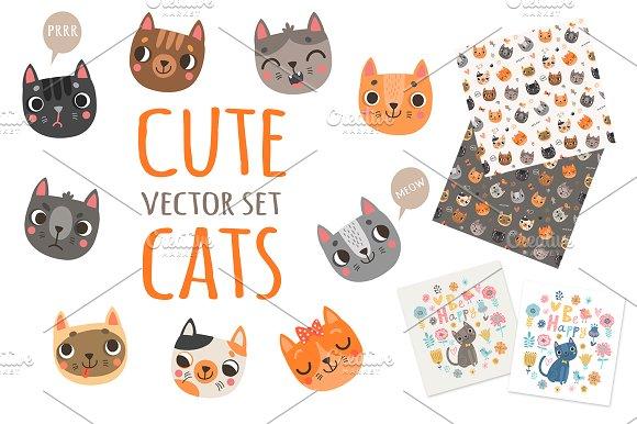 Cute cats. Vector set.