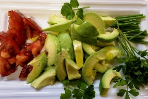 Avocado salad on tray