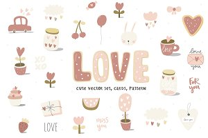 Love and heart card, pattern