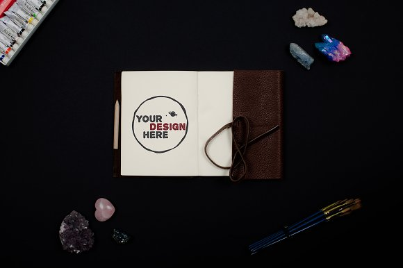 Notebook With Gemstones And Paint