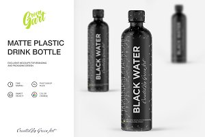 Matte Plastic Drink Bottle Mockup