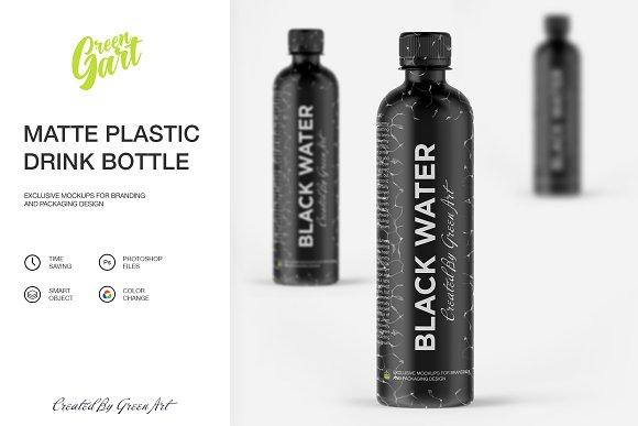 Matte Plastic Drink Bottle Mockup