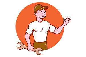 Mechanic Waving Circle Cartoon