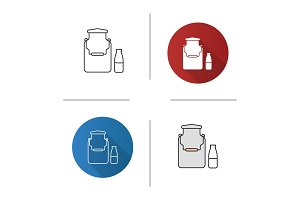 Milk can and bottle icon