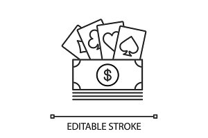 Cash with playing cards linear icon