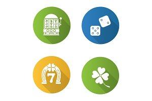Casino flat design long shadow glyph icons set