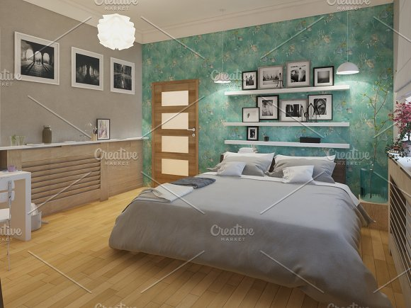 3D Rendered White Minimal Bedroom Interior Design