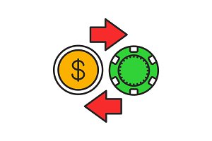Gambling chips and cash money exchange color icon