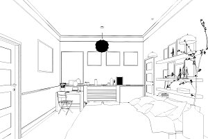 3D Rendered White Minimal Bedroom Interior Design