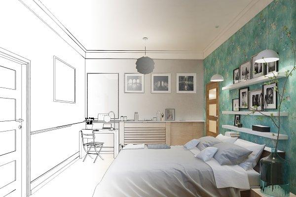 3d Rendered White Minimal Bedroom Interior Design Custom Designed Illustrations Creative Market