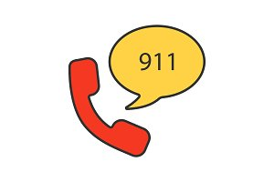 Emergency calling service color icon