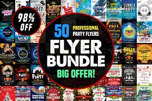 50-Party Flyers Templates Bundle