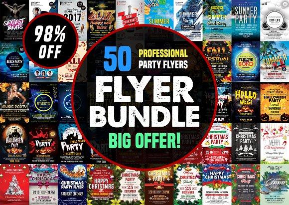 50-Party Flyers Templates Bundle