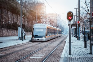Subway train or tram outdoors