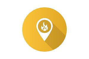 Fire location flat design long shadow glyph icon