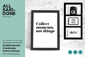 B&W frames with marble wall bundle