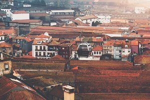 Ropeway car over tile roofs, Porto
