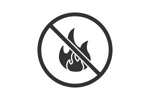 Forbidden sign with fire glyph icon