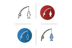 Spinning rod with fish catch icons set