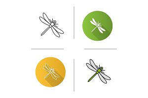 Dragonfly icons set