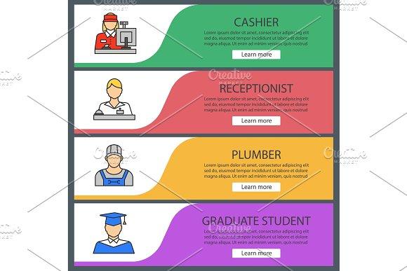 Professions Web Banner Templates Set