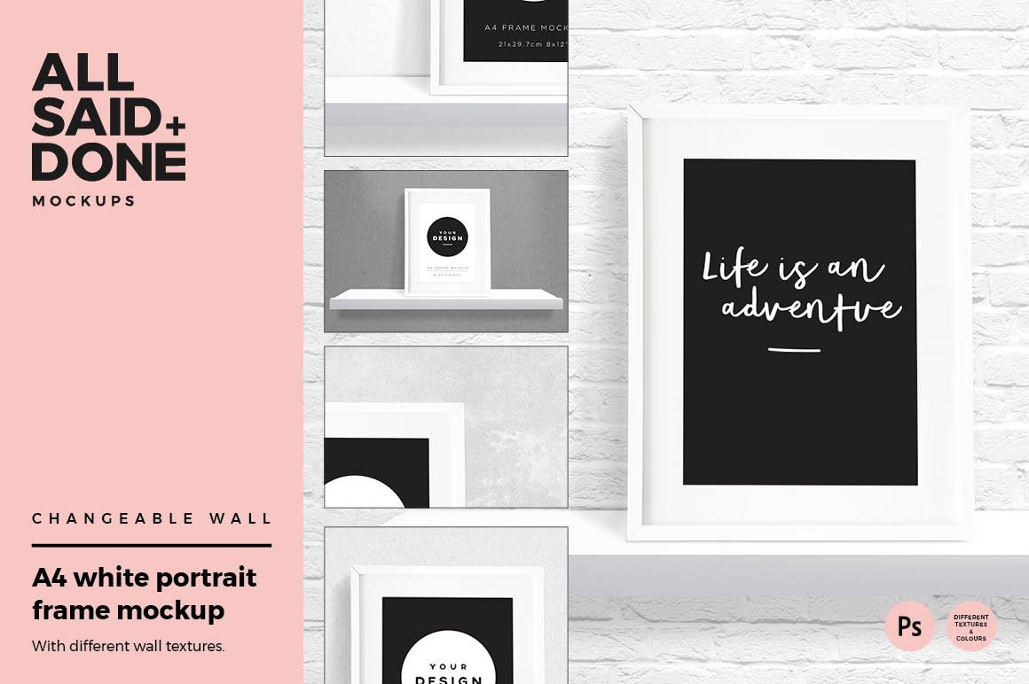 A4 portrait white frame mockup ~ Product Mockups ~ Creative Market