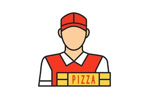 Pizza deliveryman color icon