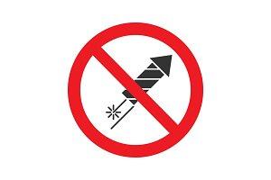 Forbidden sign with firework rocket glyph icon