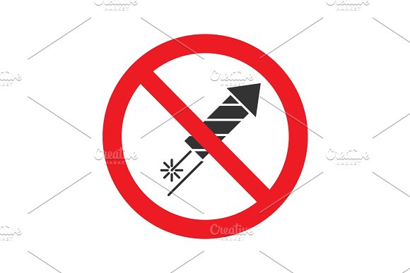 Forbidden Sign With Firework Rocket Glyph Icon