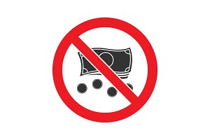 Forbidden sign with money glyph icon