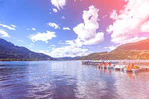 Caldonazzo lake in Trento with colorful vintage light effect