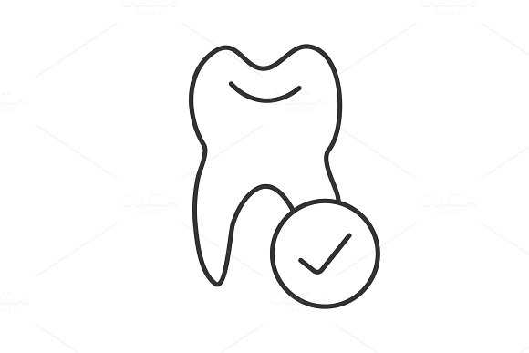 Tooth With Checkmark Linear Icon