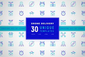Drone Delivery Icons Set | Concept