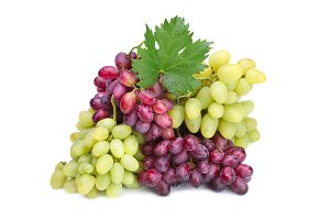 fresh rose muscat grapes with leaf
