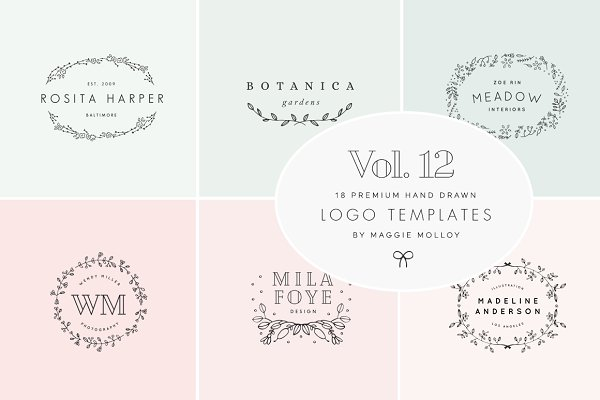 Feminine Premade Logo Bundle Vol. 1…