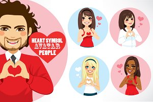 5 Heart Symbol Avatar People