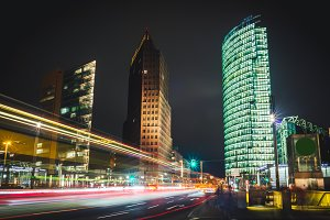 Business city center at night