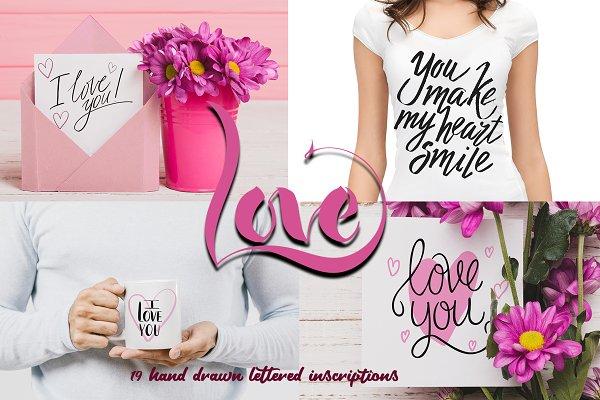 Valentine's Day handdrawn letterin…