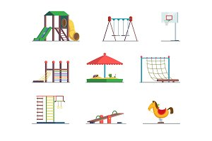 Playground equipment. Fun area for kids. Vector set