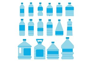 Set of plastic bottles for water. Vector pictures in flat style