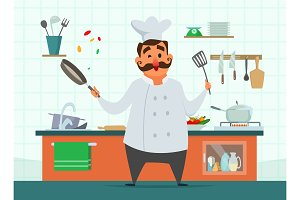 Chef cooking on the kitchen. Vector character in cartoon style