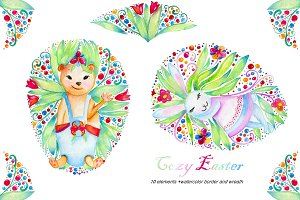 Watercolor Easter clip art.