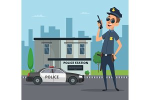 Building of police station and cartoon character of policeman