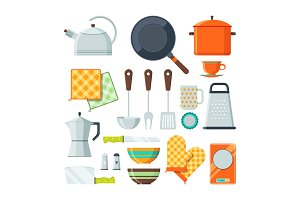 Kitchen tools for cooking. Vector cartoon illustrations isolate