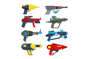 Different futuristic weapons. Shooting guns for video games