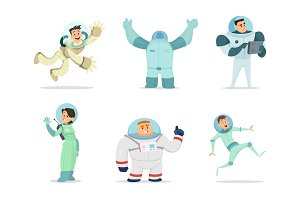Space characters. Mascots of astronauts in cartoon style